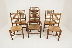 6 Antique Rush Seated Chairs Country Lancashire Farmhouse Spindle Back Chairs