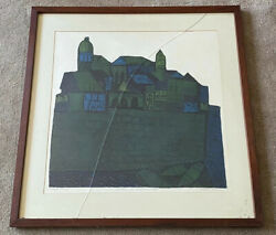 Clare Romano Walls Of Dubrovnik 1966-1967 Color Collagraph On Paper Signed