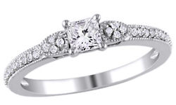 0.50 Ct Round And Princess Cut Diamond Vintage Engagement Ring In 10k White Gold
