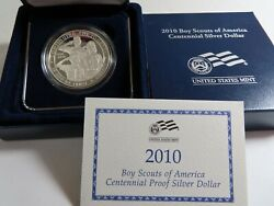 2010 Boy Scouts Of America Proof Silver Dollar With Box And Coa