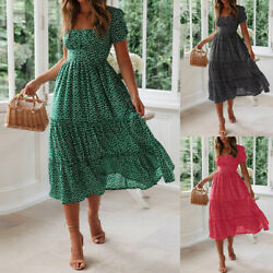 Summer Women#x27;s Vintage A Line Maxi Dress Short Sleeve Ruffle Pleated Sundress