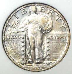 1923-s Standing Liberty Quarter 25c Coin - Certified Anacs Xf45 - Rare Date