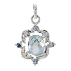 Grand Blue Topaz 925 Sterling Silver Blue Pendant Genuine Supplies Us Gift