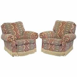 Pair Of Mid Century Fully Sprung Art Deco Style Kilim Rug Upholstered Armchairs