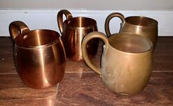 4 Vintage Solid Copper Mugs West Bend Aluminum Company Wisconsin