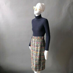 1970s Sweater Tricots Youth Guild Wool Cable Knit Turtleneck Dark Blue Sz Xs S