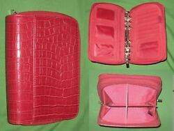Compact 1.0 Red Reptile Faux Leather Day Runner Planner Binder Franklin Covey