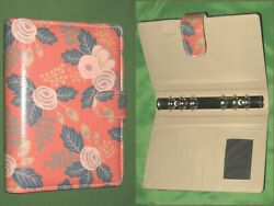 Compact 0.75 Pink Floral Faux Leather Day Runner Planner Binder Franklin Covey