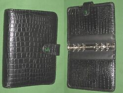 Compact 1.0 Black Reptile Leather Day Runner Planner Binder Franklin Covey