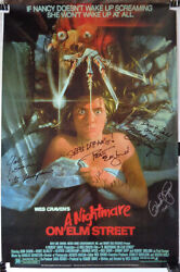 [rare Signed] And039a Nightmare On Elm Streetand039 Englund Langenkamp Saxon +2 Poster