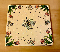Blue Sky Clayworks Base Plate Place T Lite Here Tealight Candle Tile Bee