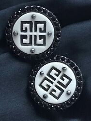 GIVENCHY 4G LOGO Clip Earrings Black Crystals wWhite Black Metal GORGEOUS $49.00