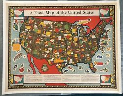 Original Travel Poster 1932 Food Map Of The United States Farm Pictorial Map Usa