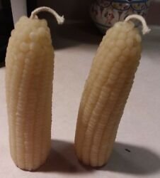 Corn Cob Beeswax Candles 2 Fall Decoration Unused Pair Of Corn Candles 6 Inch