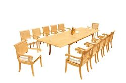 A-grade Teak 13pc Dining 118 Rectangle Table 12 Giva Arm Chairs Set Outdoor