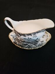 Royal Crown Derby Black Aves Pattern Gravy Boat With Stand Gold Trim C.1985