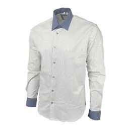 New Menand039s Dotted Shirt Slim Fit Blue White Casual Business Mini Polka Printed Uk
