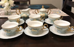 Hutschenreuther Selb Lhs Germany Tea Pot Cup Saucer Set 6 Gold Trim And Sugar Bowl