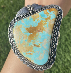 Native American Sterling Silver Royston Turquoise Cuff Bracelet. Signed