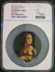 Palau 20dollar 2020 Silver Coin Micromosaic Passion Lady With An Ermine Ngc Pf70