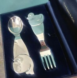 And Co. Sterling Silver Whale And Duck Baby Fork And Spoon Set
