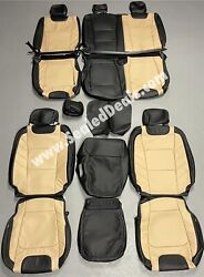 Ford F150 Xlt Supercrew Katzkin Leather Seat Covers Limited Black And Medium Camel