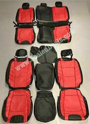 Ford F250 F350 Xlt Supercrew Katzkin Leather Seat Covers Black And Red 2017-2021