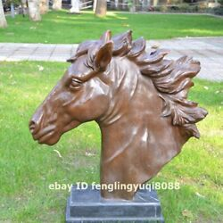 Chinese Art Deco Bronze Marble Fengshui Animal Steed Horse Head Bust Sculpture