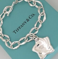 And Co Elsa Peretti Sterling Silver Large Star Charm Aegean Link Bracelet