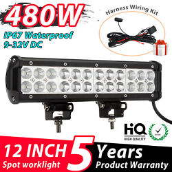 12 Inch 480w Led Work Light Bar Flood Pods Driving Off-road Tractor + Wiring Kit