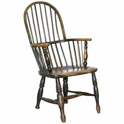 Early Original Worn Paint 19th Century Hoop Back West Country Windsor Armchair