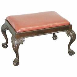 Antique Hand Carved English Georgian Claw And Ball Feet Footstool Brown Leather