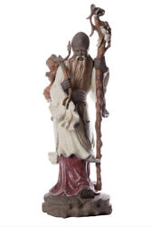 Vintage Large Figurine Porcelain Lladro Chinese Farmer With Staff Marked 57 Cm