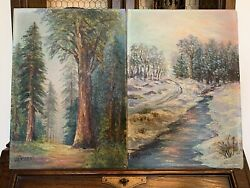 Pair Of Vintage Paintings Redwood Tree Forest And Snowy Winter Stream With Trees