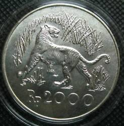 Indonesia 2000 Rupiah 1974 Silver Coin Conservation Series Javan Tiger Unc