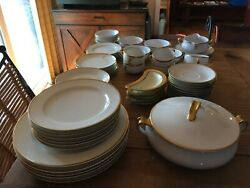 Vintage Haviland Limoges Mirabeau China 54 Pieces White With Gold Bans