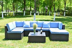 7 Piece Patio Sofa Set Rattan Furniture Sectional Seating Group W/ Cushions Blue
