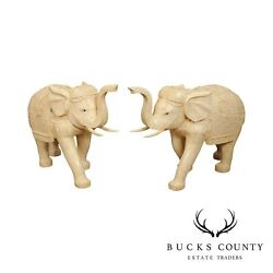 Vintage Pair Tessellated Carved Bone Chinese Elephant Statues