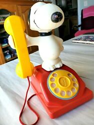 Vintage Snoopy Rotary Telephone Toy 1966 Spins And Rings Hasbro Preschool