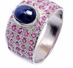 925 Sterling Silver Genuine Sapphire And Ruby Gem Stone Men's Rings Us Size 9 10