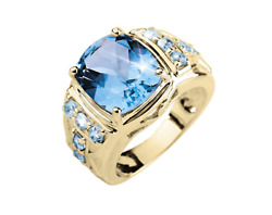 18k Solid Yellow Gold Natural Blue Topaz Gem Stone Wonderful Menand039s Ring 086g