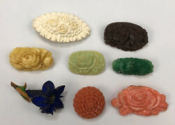 Lot Of 8 Vtg Miscellaneous Celluloid Lucite Carved Floral Plastic Brooches Al