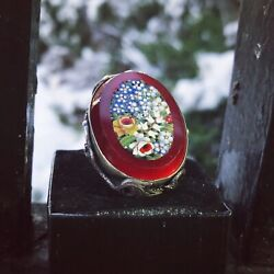 Antique Victorian Dragon Micro Mosaic Forget Me Not Floral Silver Ring Vintage