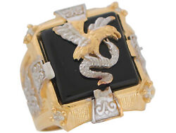 10k Or 14k Two-tone Gold Bold Onyx And Cz Eagle And Snake Mens Statement Ring