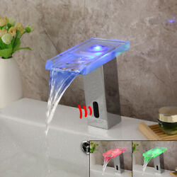 Led Chrome Hand Free Touch Automatic Single Hole Bathroom Basin Mixer Faucet Tap