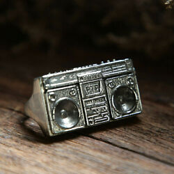 Vintage Boombox Ring Hip Hop Radio Two Fingers Sterling Silver 925 Biker Jewelry