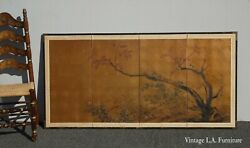 Vintage Oriental Asian Japanese Four Panel Screen Picture W Tree Made Japan Sg