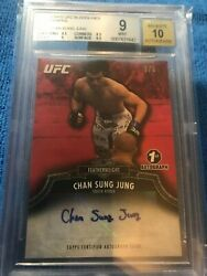 2012 Topps Ufc Bloodlines Autographs Red Chan Sung Jung 3/8 Bgs 9 10 1st Auto