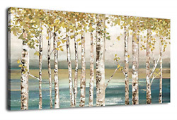 Birch Wall Art Large Canvas Picture Abstract Ocean Modern Sea Artwork on Canvas