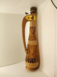 Vintage Amber Glass Wine Bottle / Decanter W/ Wooden Handle, Base, And Wicker Wrap